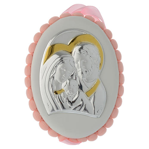 Medalla para cuna pompón rosa con Sagrada Familia y Carillón 1