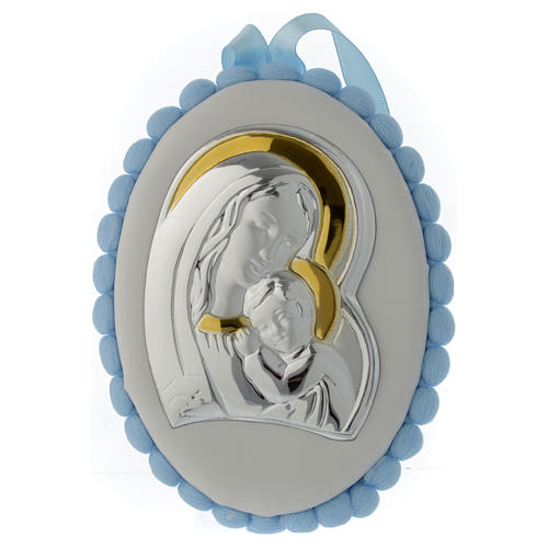 Cradle headboard Our Lady with Baby Jesus light blue with pom pom and musical box 1
