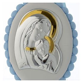 Sopraculla pon pon azzurro Madonna Bambino con carillon s2