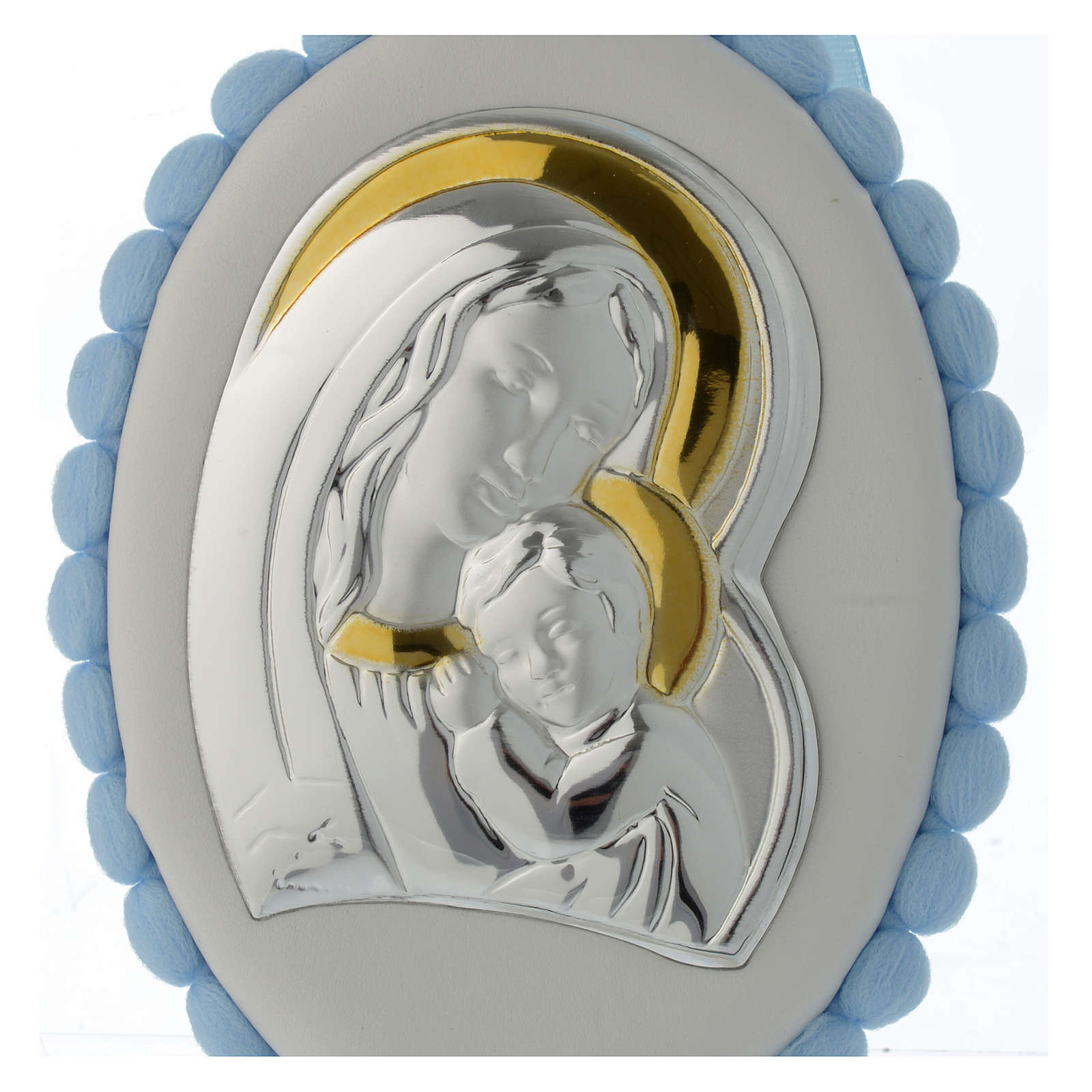 Cradle decoration Our Lady with Baby Jesus light blue with pom pom and musical box 4