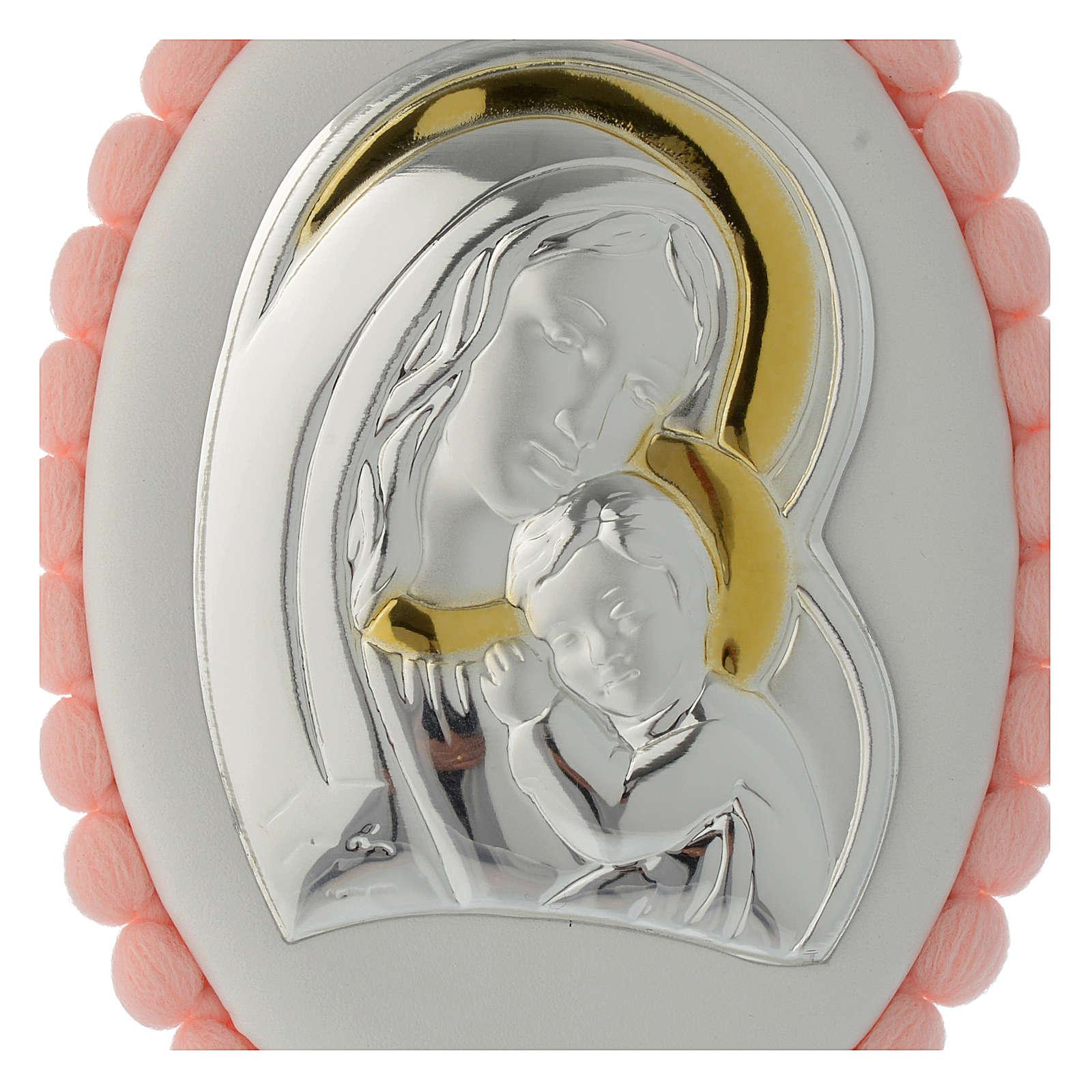 Sopraculla pon pon rosa Madonna Bambino con carillon 4