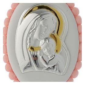 Sopraculla pon pon rosa Madonna Bambino con carillon s2