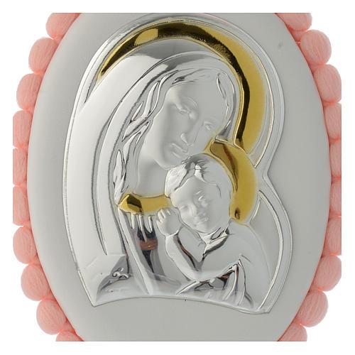 Sopraculla pon pon rosa Madonna Bambino con carillon 2