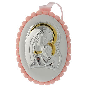 Medalhões e Medalhas para Berço: Medalha de berço pompons cor-de-rosa Virgem com o Menino e caixa de música