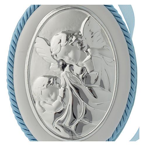 Medalion nad łóżeczko błękitny Anioł pozytywka 2