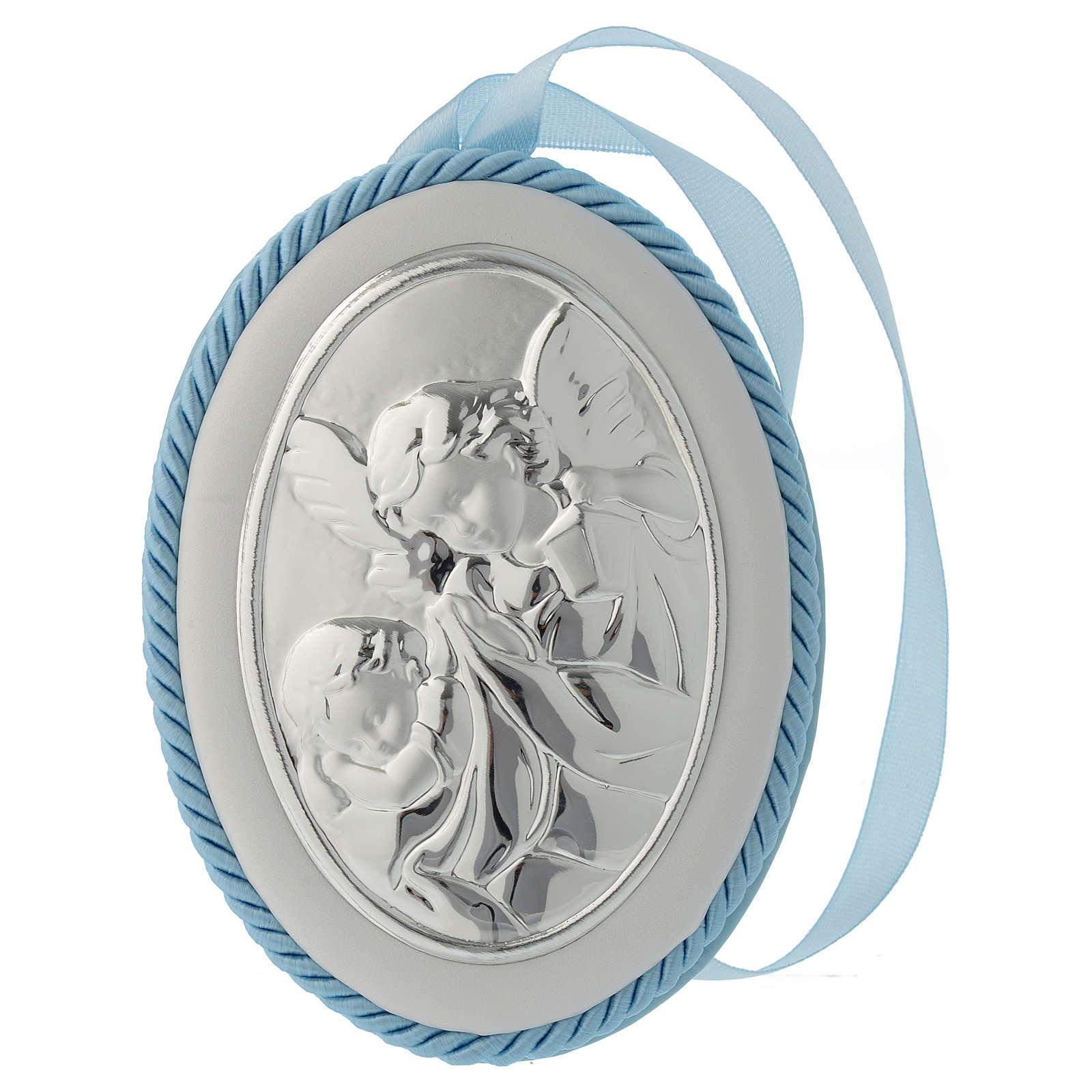 Cradle decoration medallion light blue with angel and musical box 4