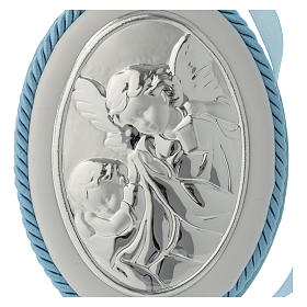 Cradle decoration medallion light blue with angel and musical box s2