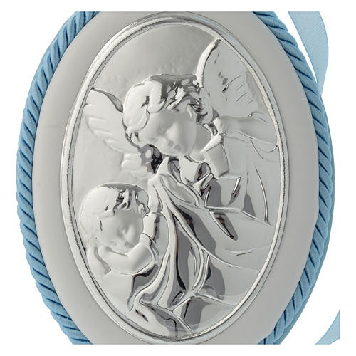 Cradle decoration medallion light blue with angel and musical box 2