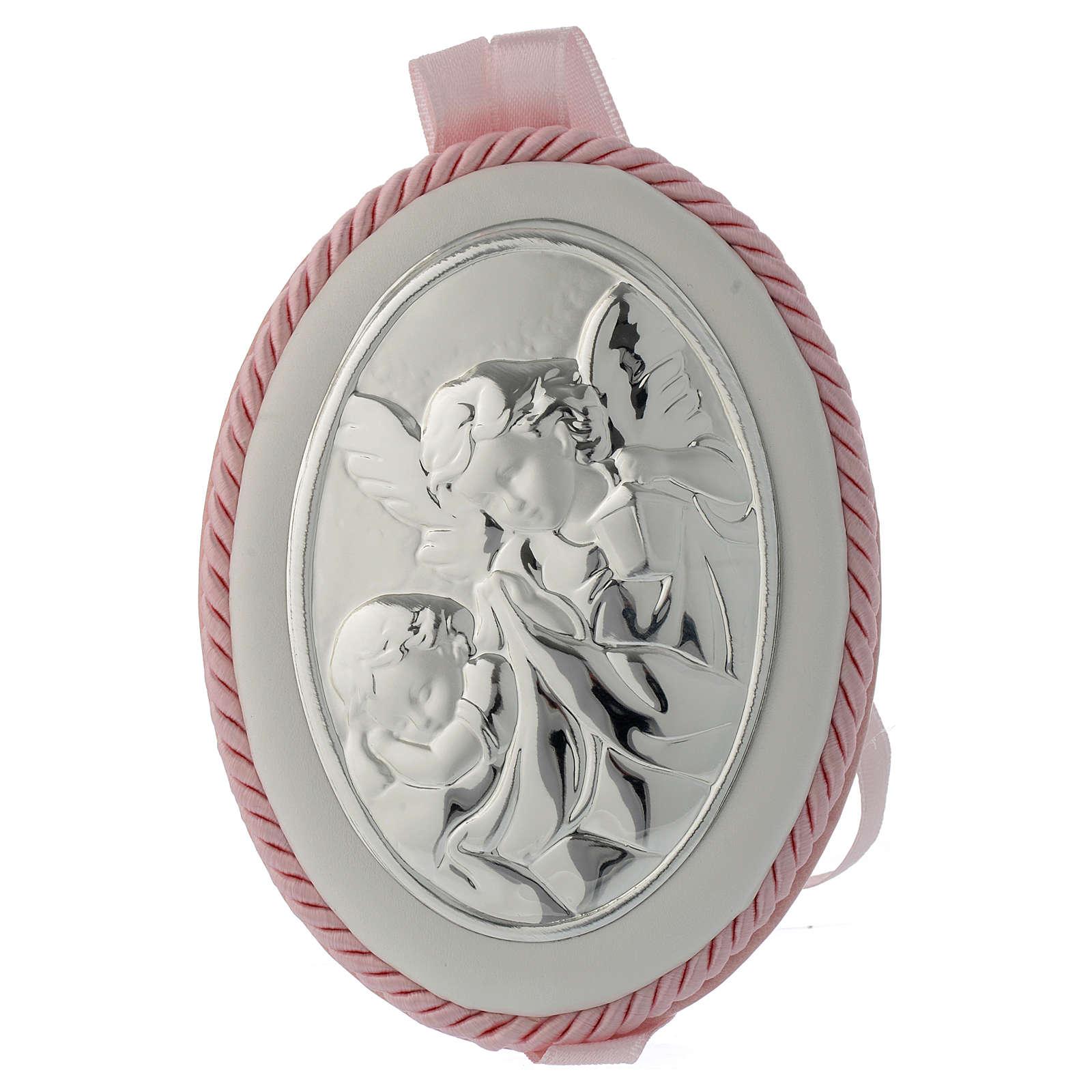 Medallón para cuna rosa Ángel de la guarda carillón 4