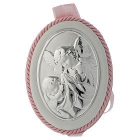 Medallón para cuna rosa Ángel de la guarda carillón s1