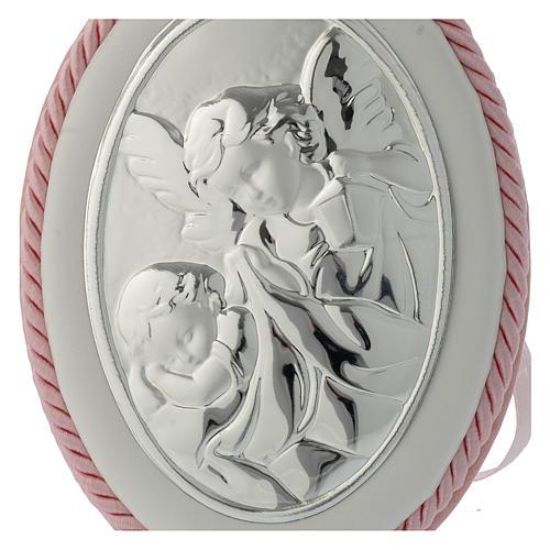 Medallón para cuna rosa Ángel de la guarda carillón 2