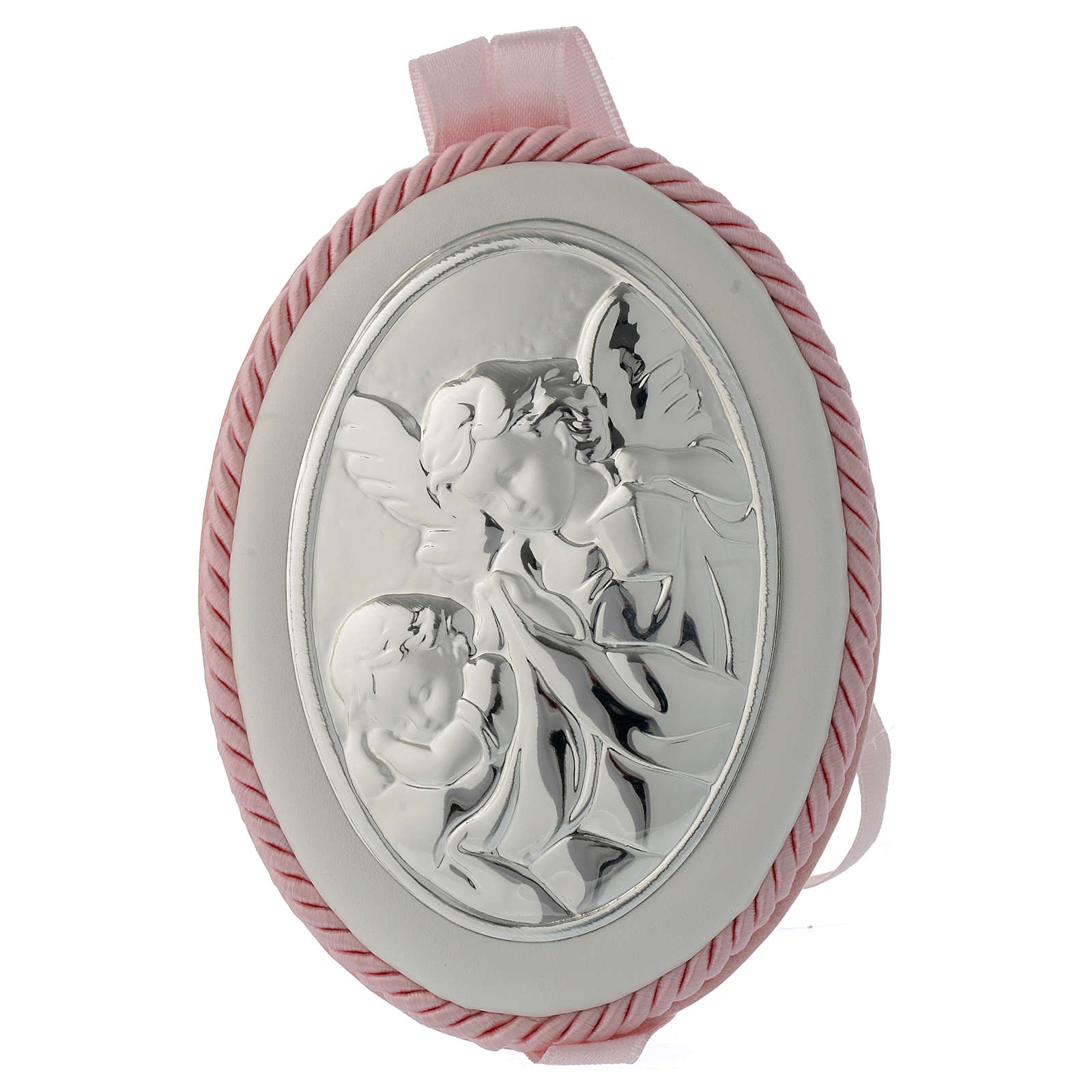 Cradle decoration medallion with Guardian Angel and musical box pink 4