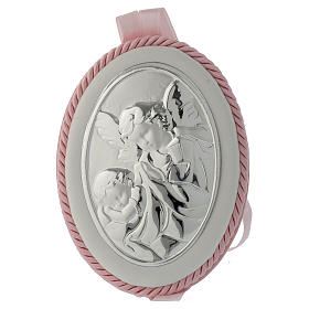 Cradle decoration medallion with Guardian Angel and musical box pink s1