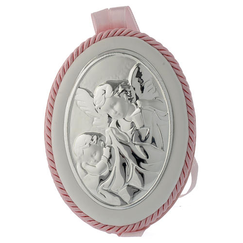 Cradle decoration medallion with Guardian Angel and musical box pink 1