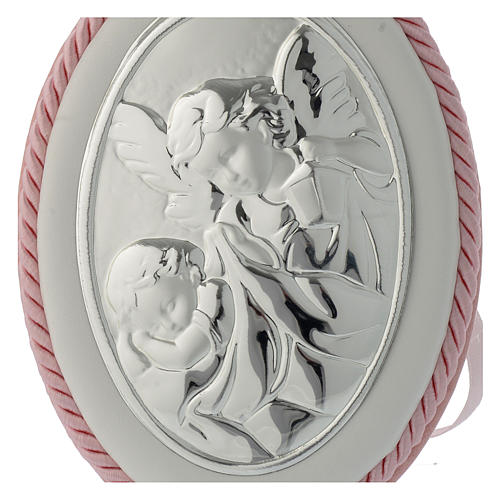 Cradle decoration medallion with Guardian Angel and musical box pink 2