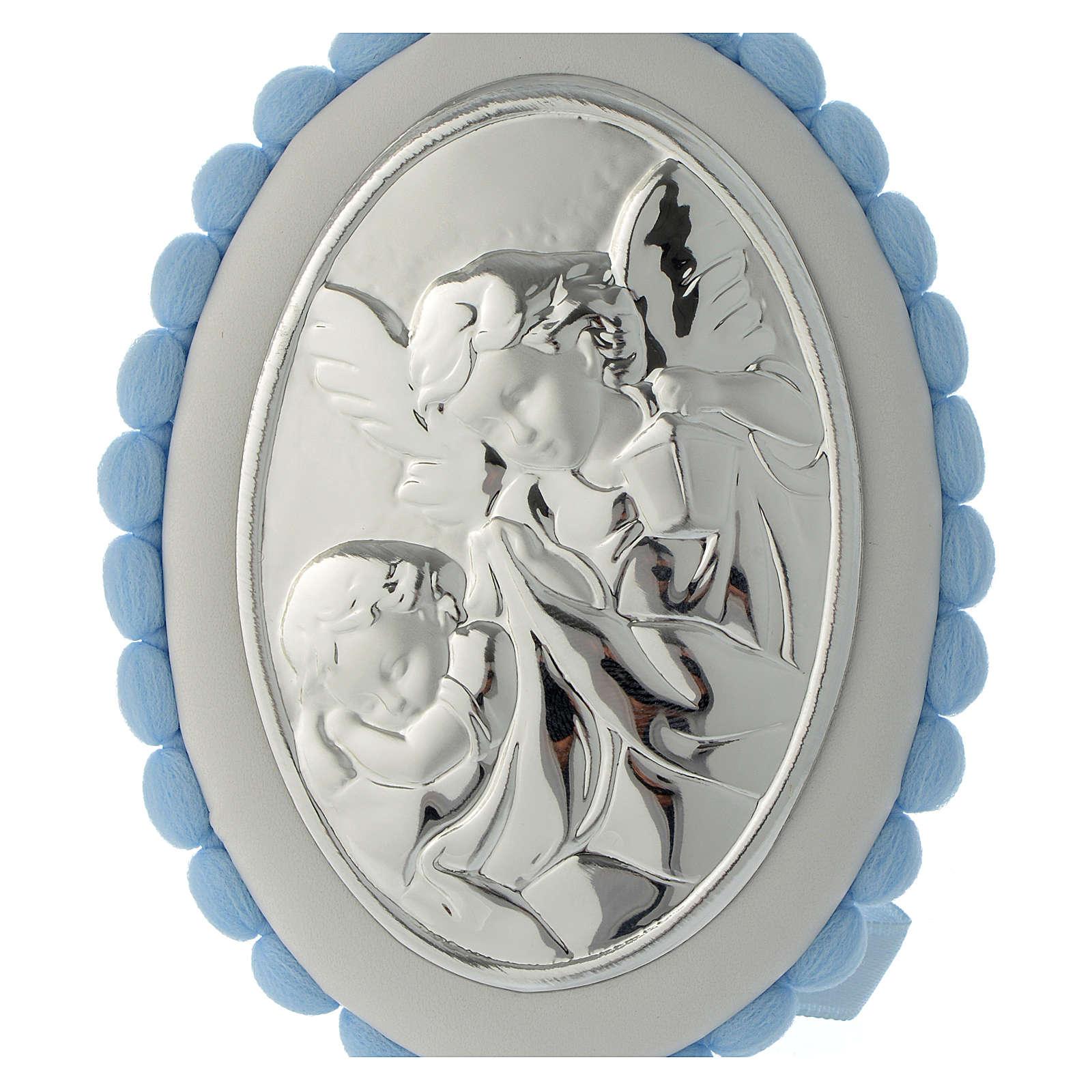 Medalla para cuna celeste pompón Ángel carillón 4