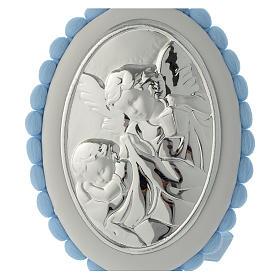Medalla para cuna celeste pompón Ángel carillón s2