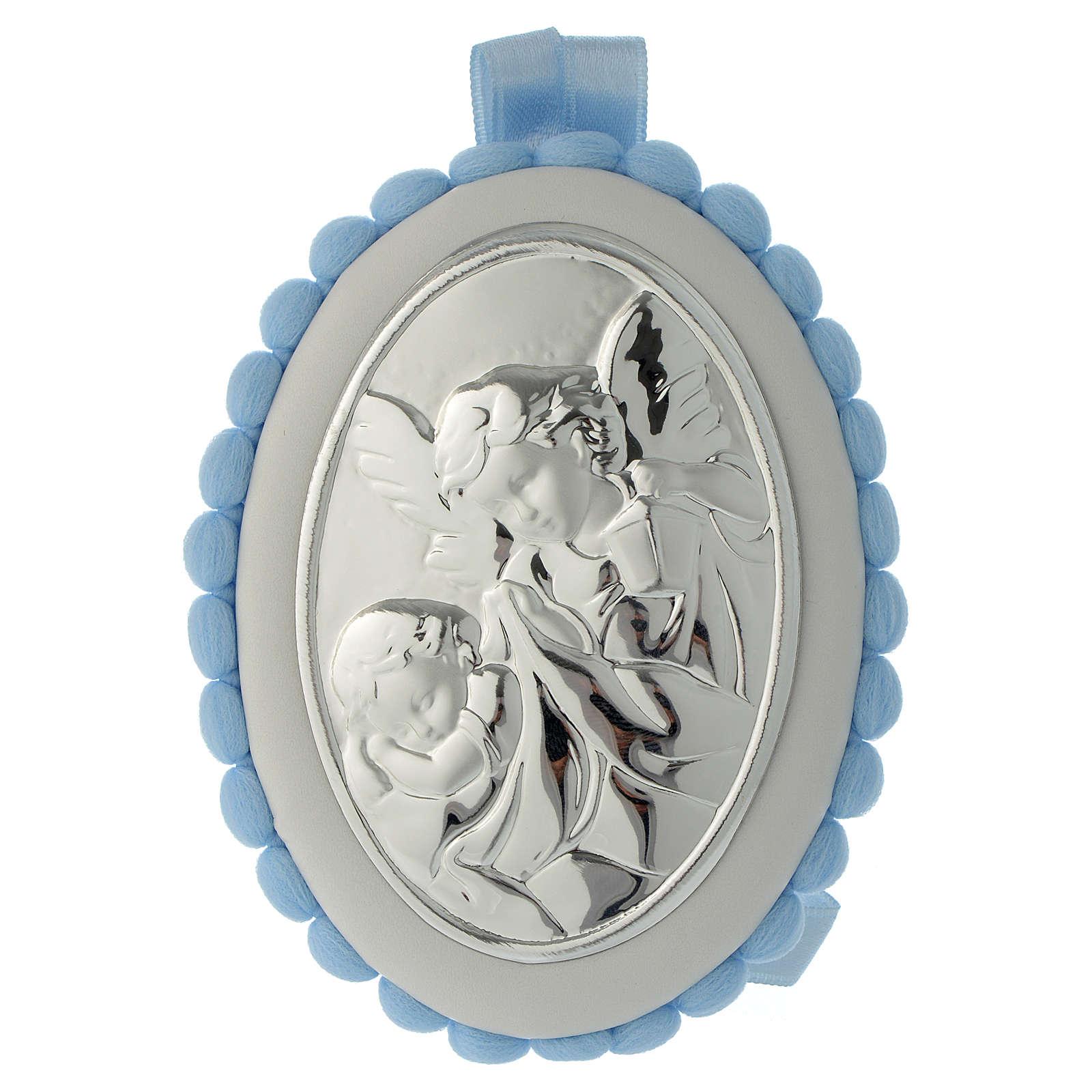 Cradle decoration light blue with pom pom, angel and music box 4