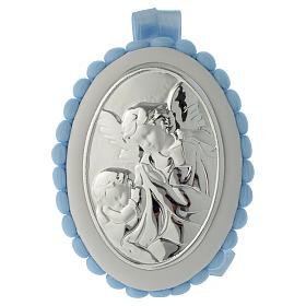 Cradle decoration light blue with pom pom, angel and music box s1