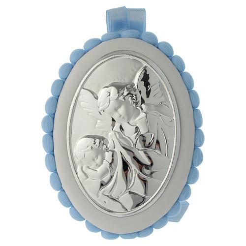 Cradle decoration light blue with pom pom, angel and music box 1
