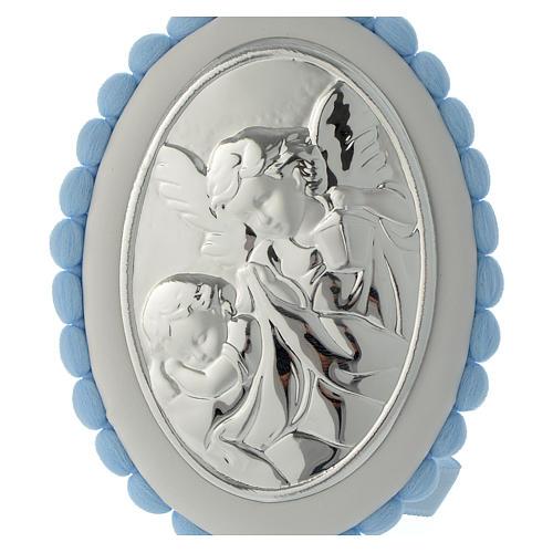 Cradle decoration light blue with pom pom, angel and music box 2