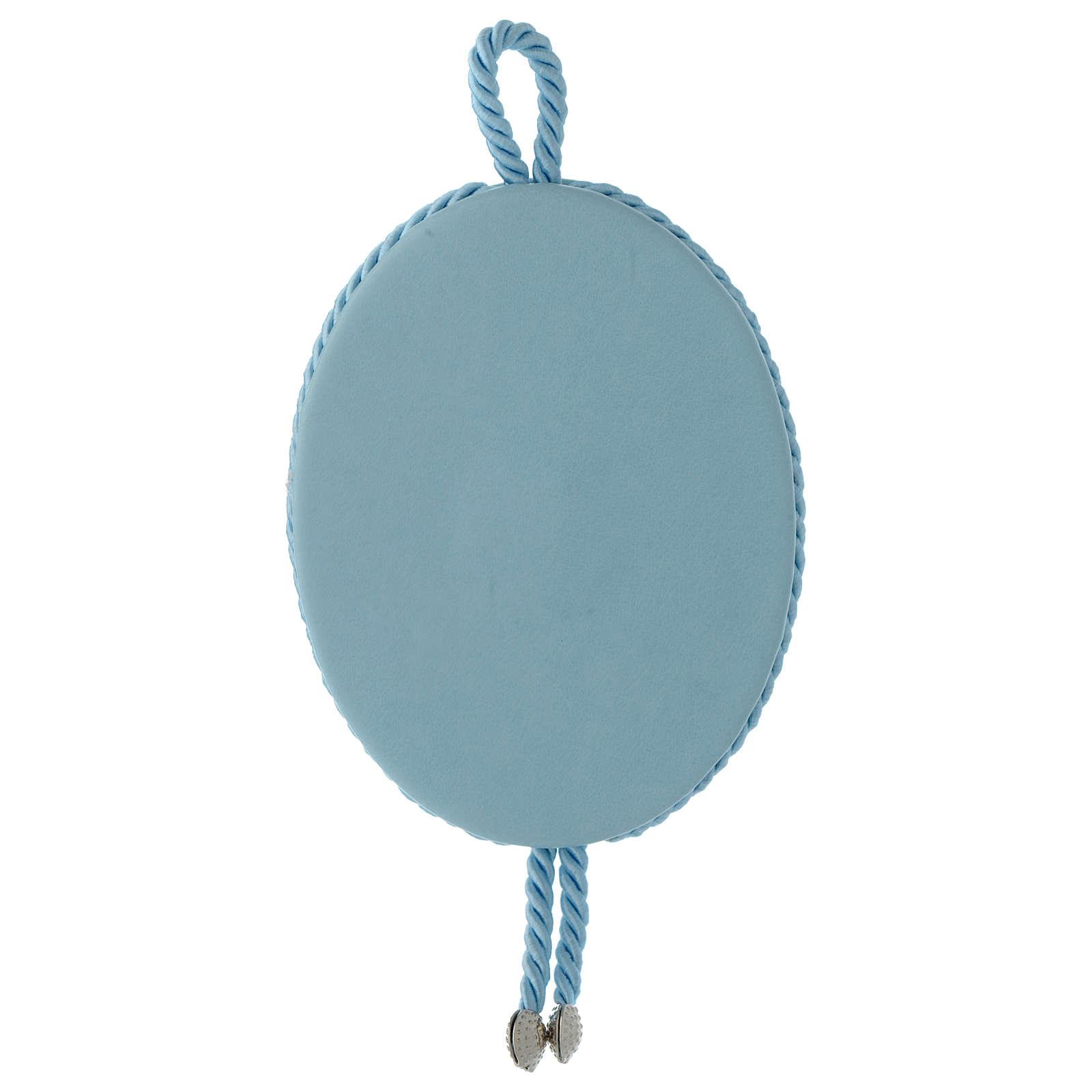 Medalla para cuna Ángel y corazones carillón azul 4
