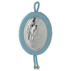 Medalla para cuna Ángel y corazones carillón azul s1