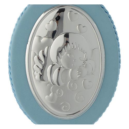 Medalla para cuna Ángel y corazones carillón azul 2