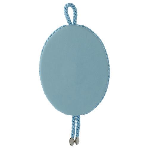 Medalla para cuna Ángel y corazones carillón azul 3