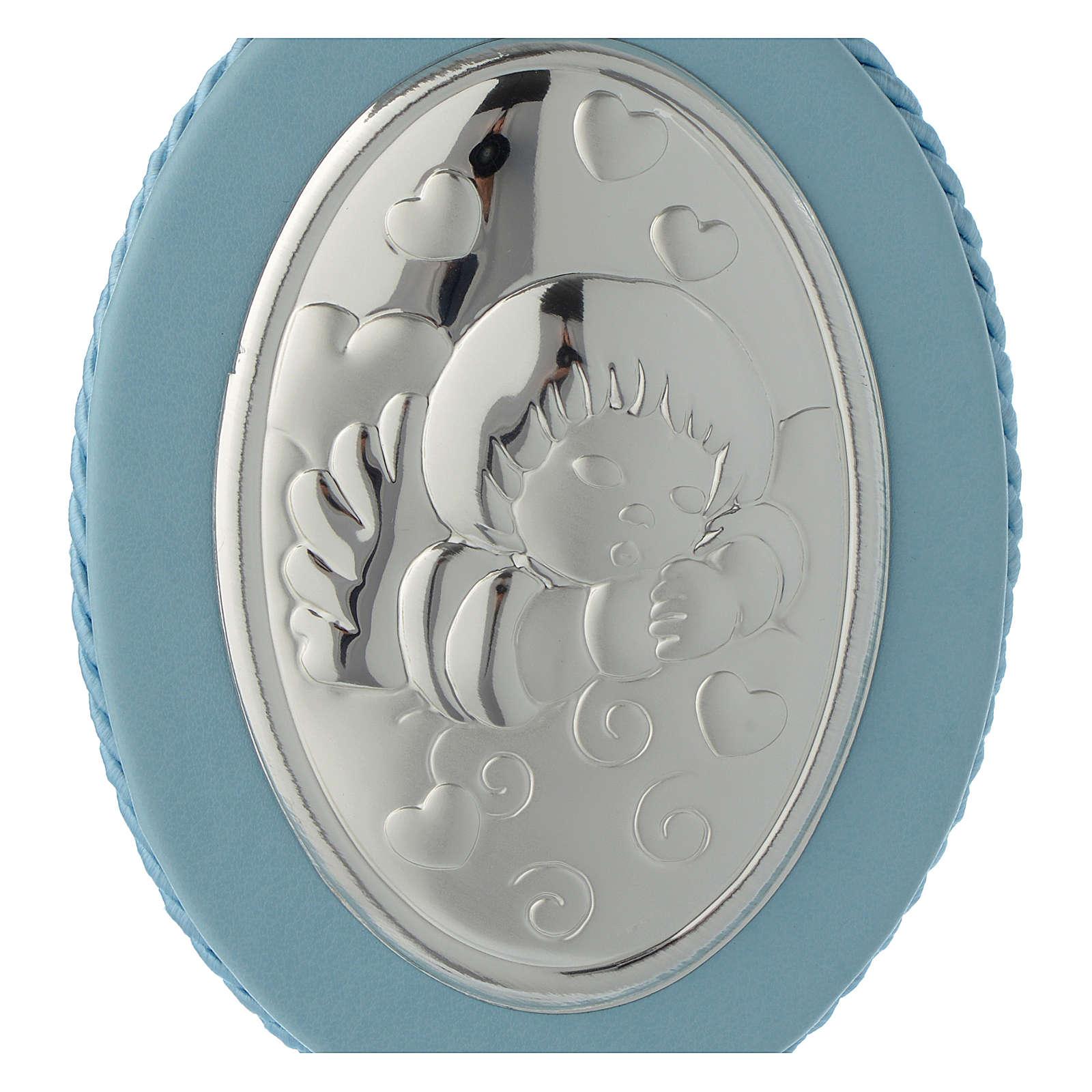 Médaille de lit Ange et coeurs carillon bleu 4