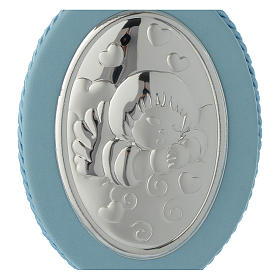 Médaille de lit Ange et coeurs carillon bleu s2