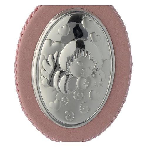 Médaille de lit Ange et coeurs carillon rose 2