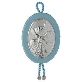 Medalhões e Medalhas para Berço: Medalha de berço azul Anjo da guarda caixa de música