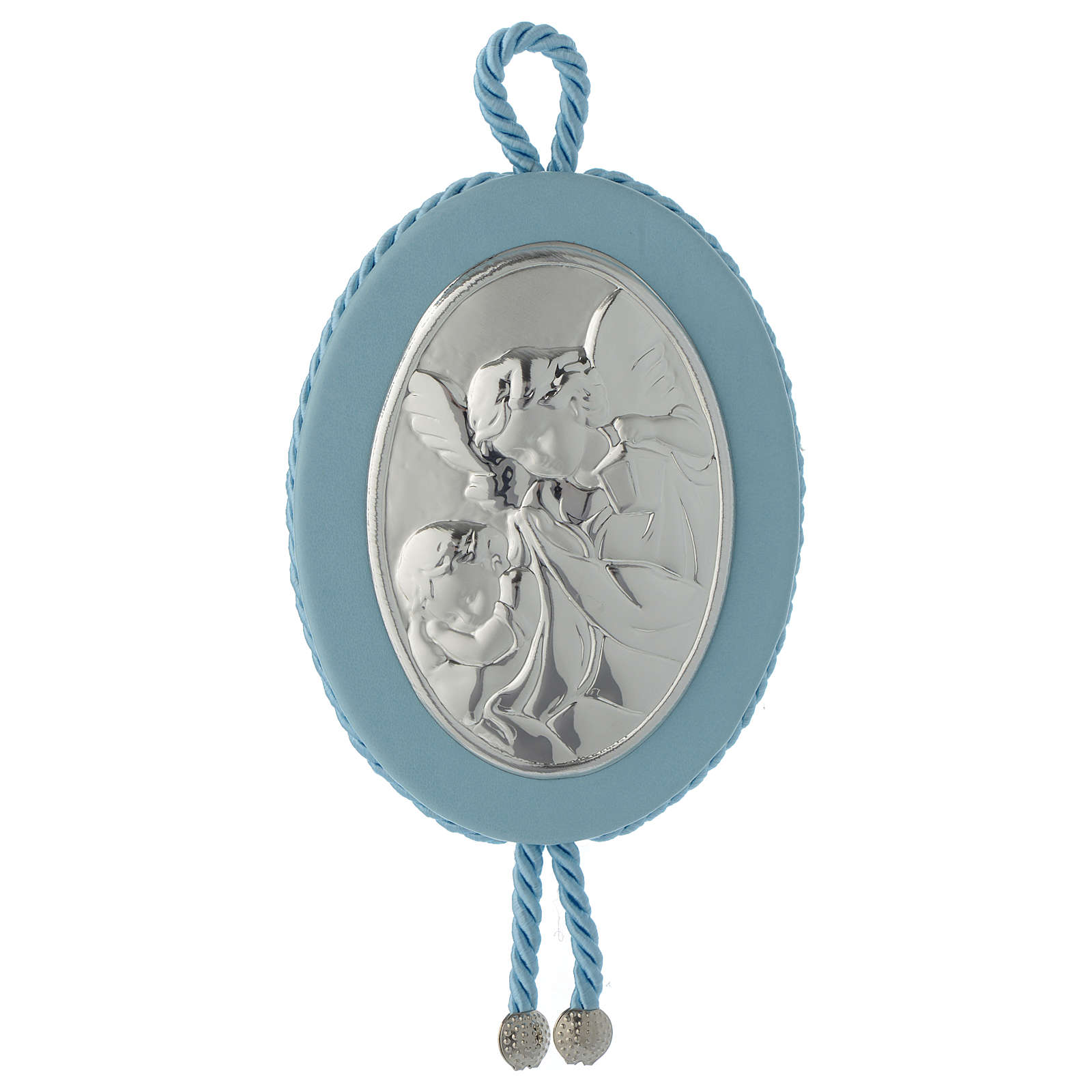 Cradle decoration light blue with Guardian Angel and musical box 4