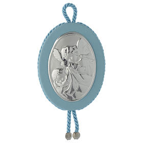 Cradle decoration light blue with Guardian Angel and musical box s1