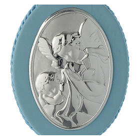 Cradle decoration light blue with Guardian Angel and musical box s2
