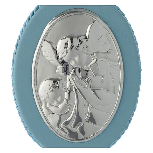 Cradle decoration light blue with Guardian Angel and musical box 2