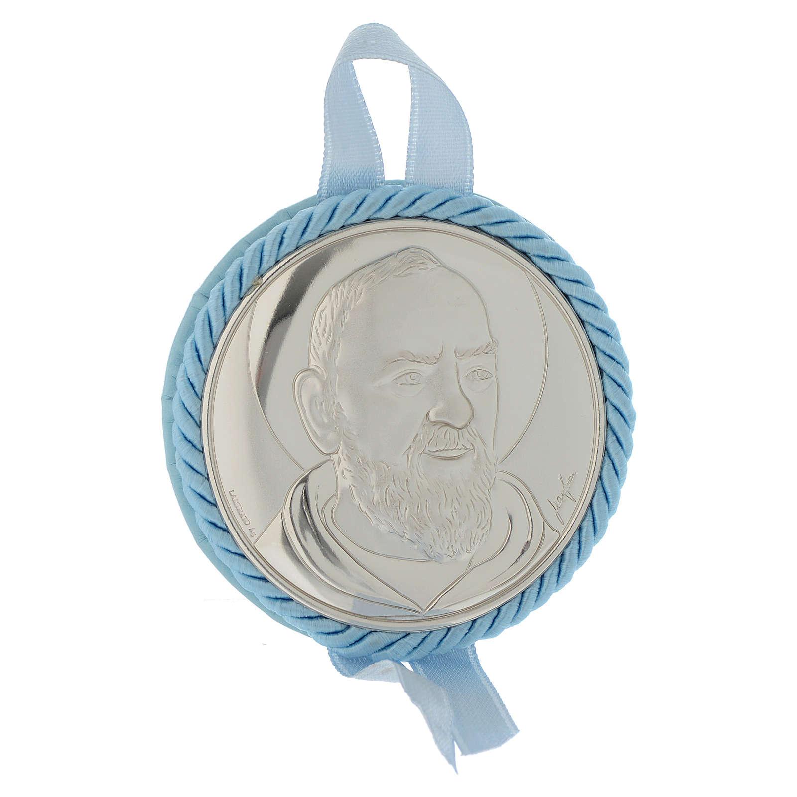 Medalla para cuna Padre Pío con Carillón Azul 4