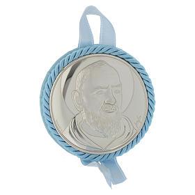 Medalhões e Medalhas para Berço: Medalha de berço Padre Pio com caixa de música azul