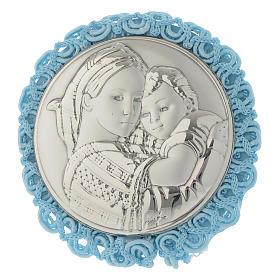 Medalhões e Medalhas para Berço: Medalhão redondo Madona da Cadeira caixa de música azul