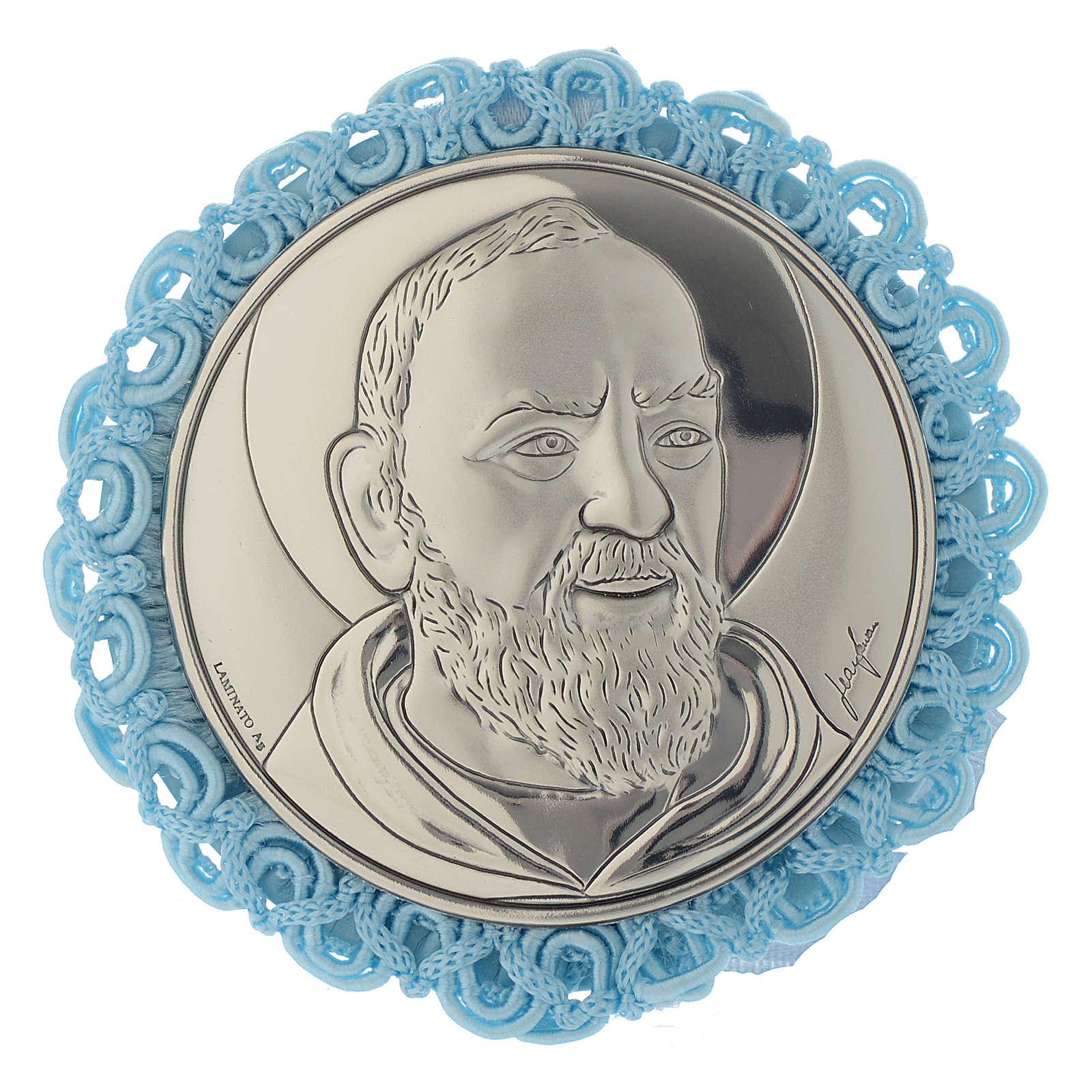 Cradle decoration Saint Pio medallion and musical box in pale blue 4