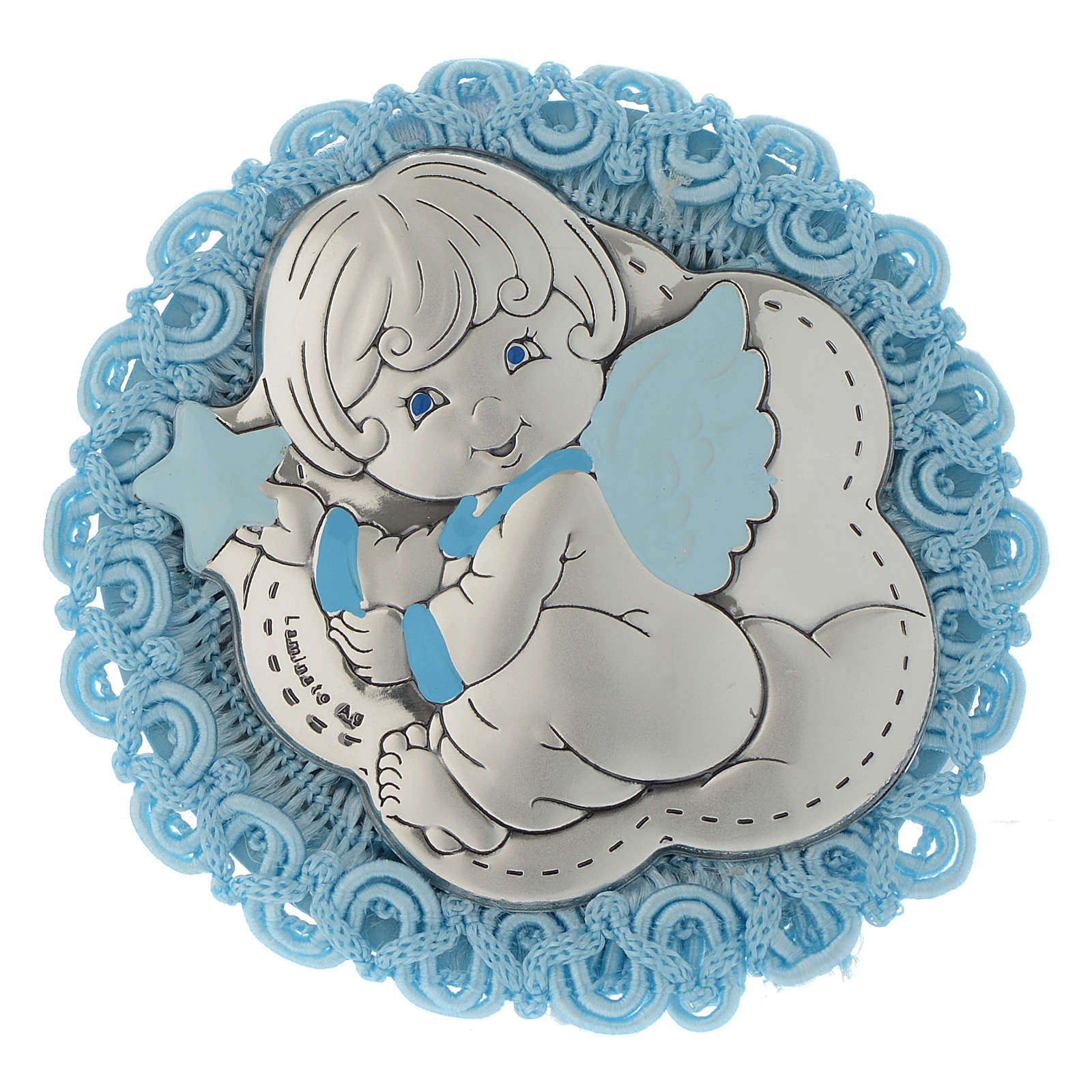 Silver cradle decoration with Angel and musical box in light blue 4