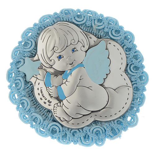 Silver cradle decoration with Angel and musical box in light blue 1