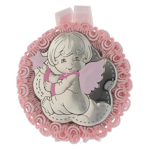 Médaille argent et émail ange carillon rose 1