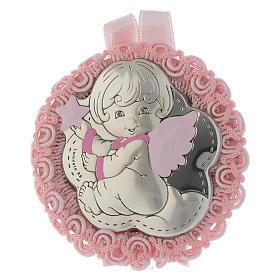 Medalhões e Medalhas para Berço: Medalha para berço prata e esmalte Anjo caixa de música cor-de-rosa