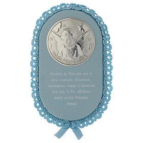 Medalhões e Medalhas para Berço: Medalha para berço oval oração ITA e caixa de música azul