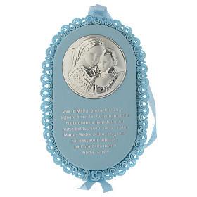Medalhões e Medalhas para Berço: Medalha para berço prata oval Virgem Ave Maria e caixa de música azul