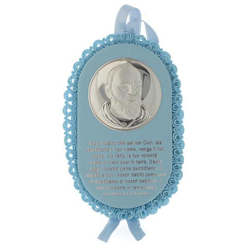 Obrazek nad łóżeczko Błękitny ze Srebra owalny Ojciec Pio z Modlitwą i Pozytywką 1