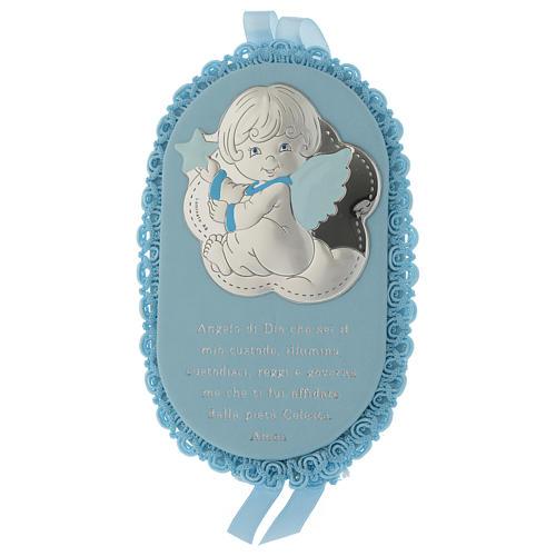 Medalla para cuna azul ovalada Plata y esmalte Ángel con Oración y Carillón 1