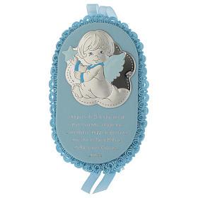 Medalhões e Medalhas para Berço: Medalha para berço azul oval prata e esmalte Anjo com oração ITA e caixa de música